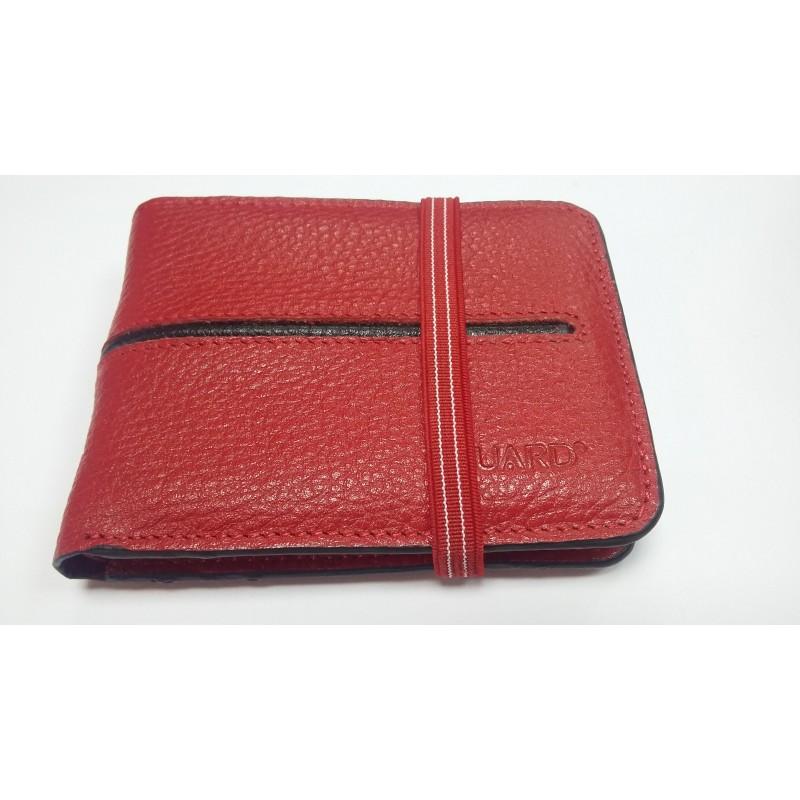 Кредитница визитница бумажник красный из натуральной кожи унисекс 816  - фото 1